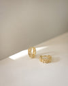 gold chain huggie hoop earrings from the hexad