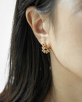 golden ball earrings strung together to form a hoop earring @thehexad