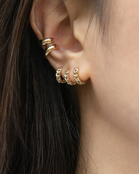 how to stack multiple huggie hoops for a contemporary lobe the hexad