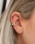 @isthatsoh ear stack with the Double Bar studs and ear cuffs