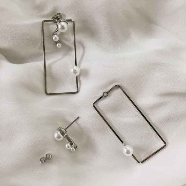 2way frame and studs earrings with pearl accents