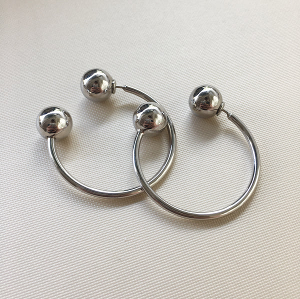 KYOTO Sphere Hoops in Silver - The Hexad Jewelry
