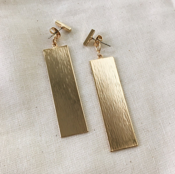 sleek gold matte bar drop earrings