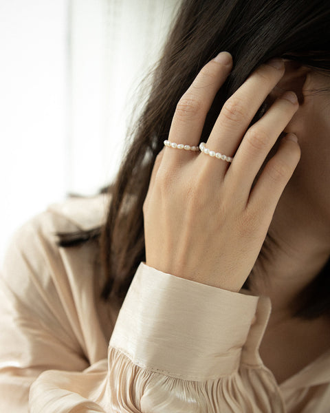 mini pearls strung together to form a delicate yet chic ring @thehexad Jewelry