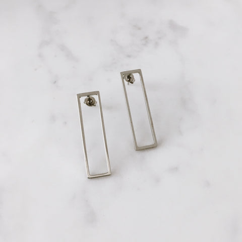 minimalist silver rectangle shape studs