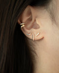 minimalist pave stud earrings for wearers with multiple piercings