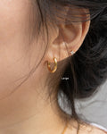 minimalist gold huggie earrings in large size @thehexad