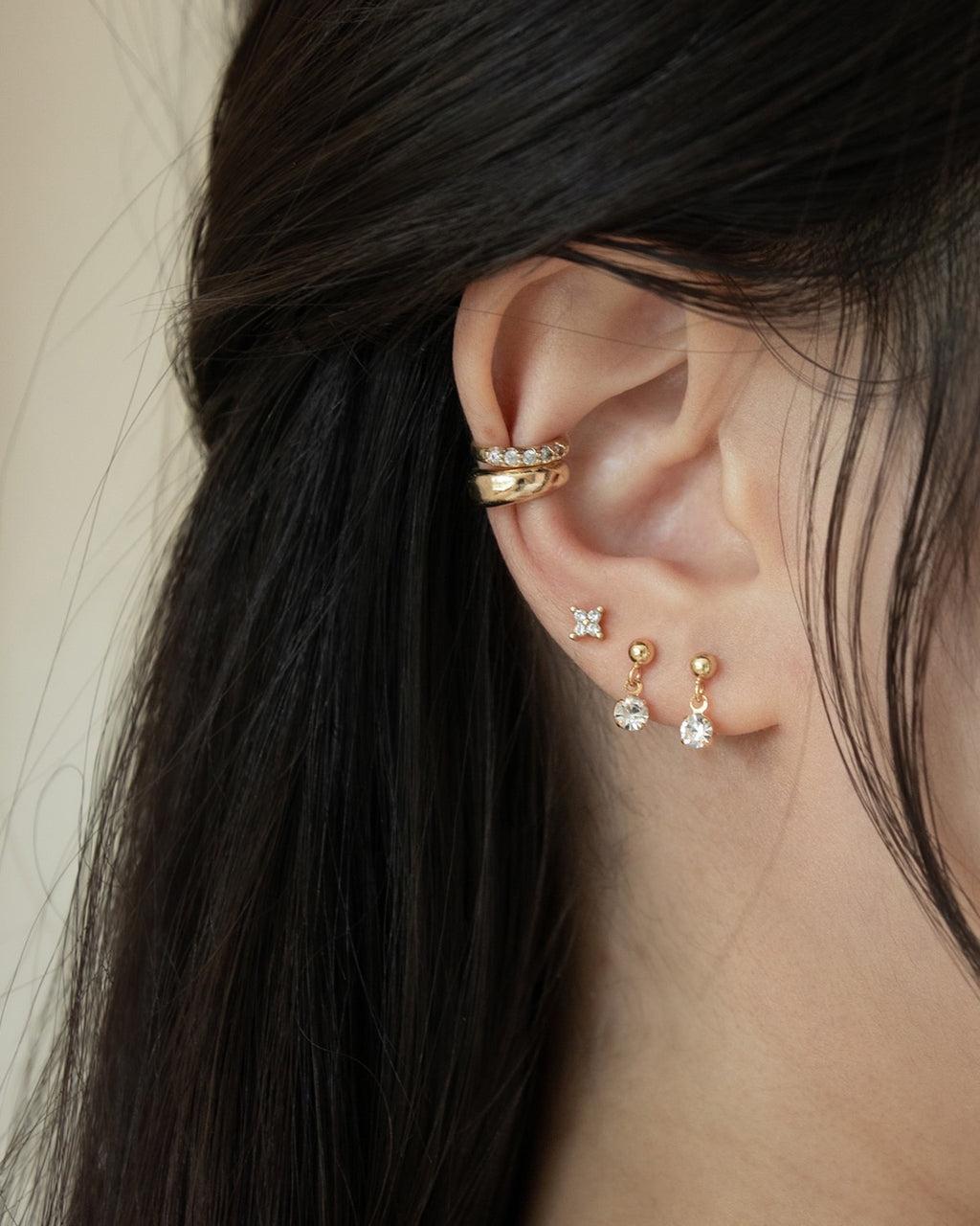 mix and match small dainty earrings for ear stack inspo
