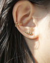 modern gold beaded climber earrings - The Hexad Jewelry
