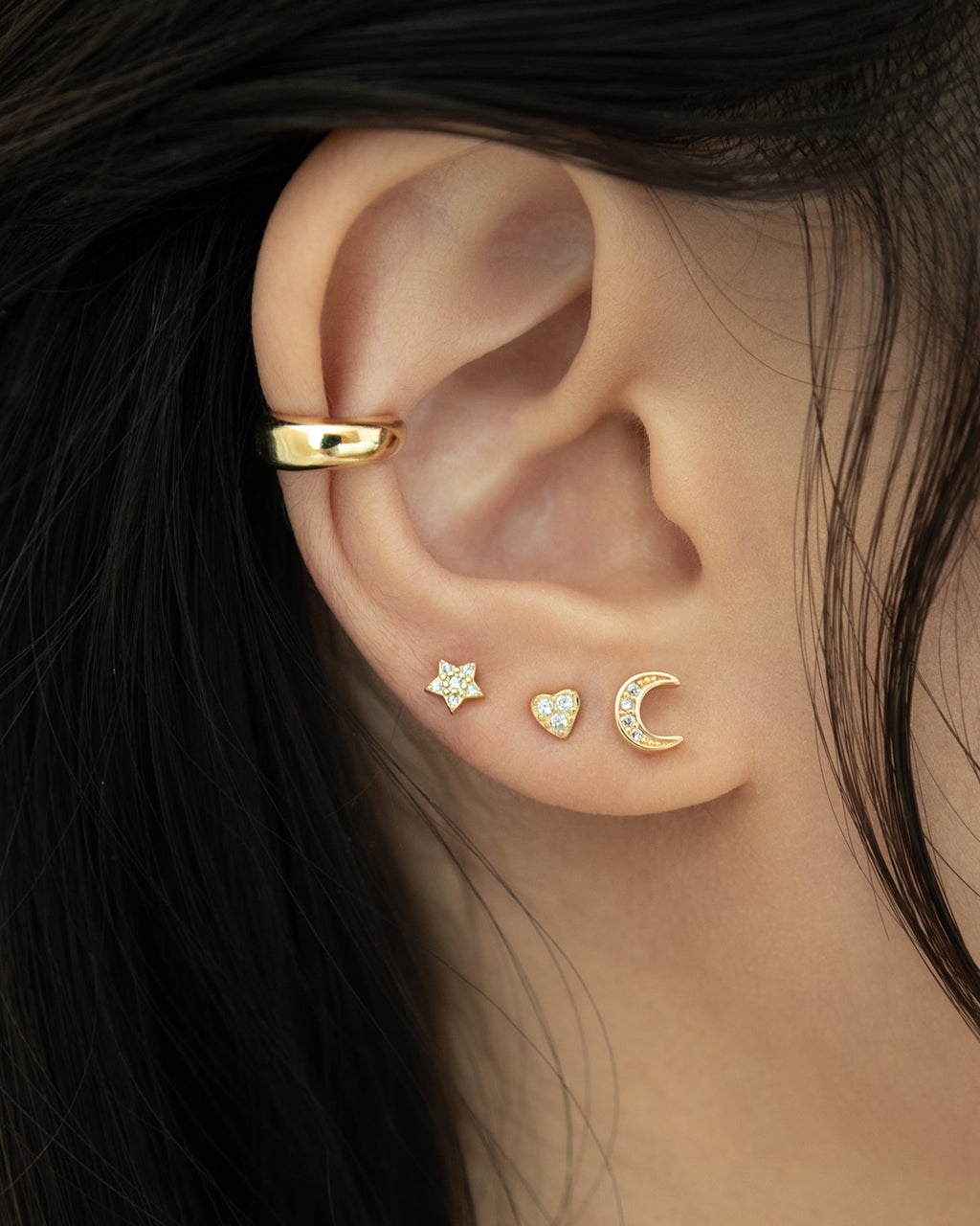 moon star and heart stud earrings in gold @thehexad