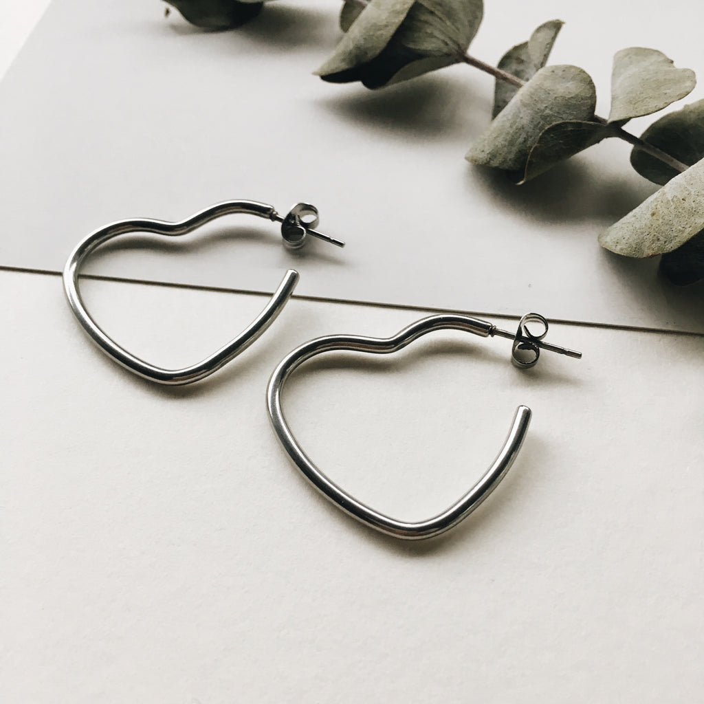 Heart Shape Silver Hoops - The Hexad Earrings
