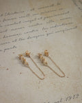 petite clover shape drop chain earrings by the hexad