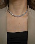 rhinestones embellished Trance chain choker in silver by The Hexad