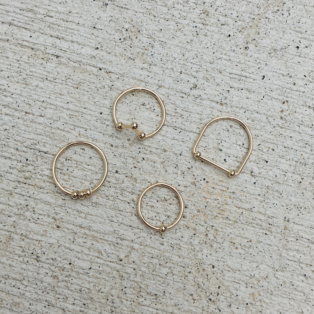Set of Four Thin Gold Bands for Stacking - The Hexad Jewelry