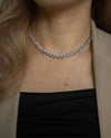 silver Trance chain choker with intricate sparkly rhinestones by The Hexad