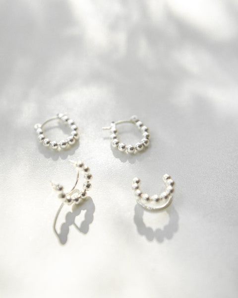 Minimalist silver plated hoop earrings and ear cuffs by The Hexad