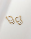 sleek triple hoop earrings in gold
