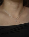 sparkly aria layered necklace in silver sits gracefully along the collarbones