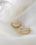 statement fiesta trio hoops featuring gold beads and sparkly faux diamonds