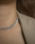 stunning tennis style chain choker in silver from contemporary jewelry label The Hexad