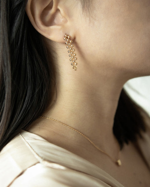 tessellated gold beaded drop earrings - Vienna by The Hexad