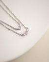 the hexad silver aria layered necklace with tiny diamante for understated sparkle