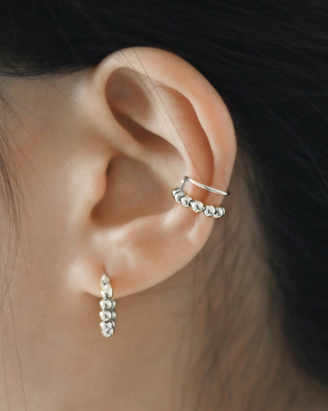 tiny silver balls ear cuffs for pierceless ears - The Hexad Jewelry