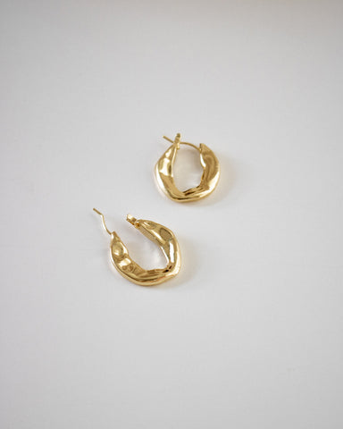 unique gold hoops hammered to perfection by The Hexad