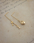 whimsical lock and keys threader earrings by the hexad