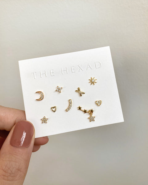 whimsical set of 9 miniature ear studs