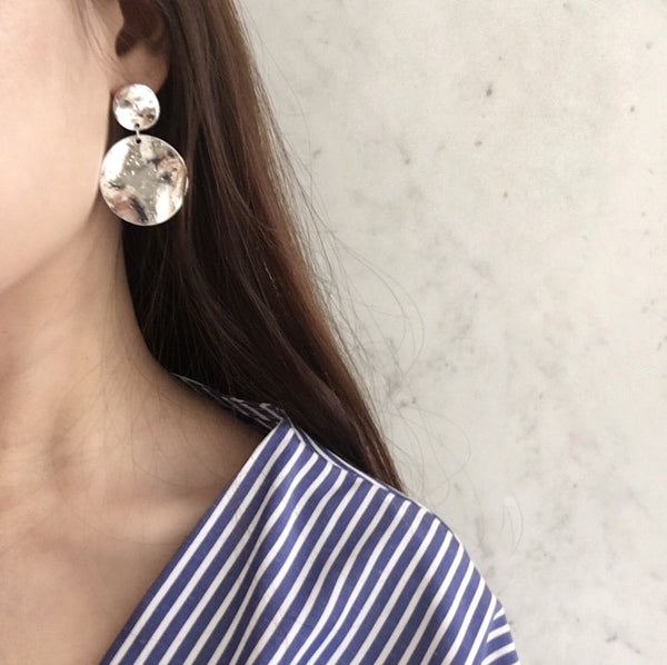 unique texture silver plated earrings