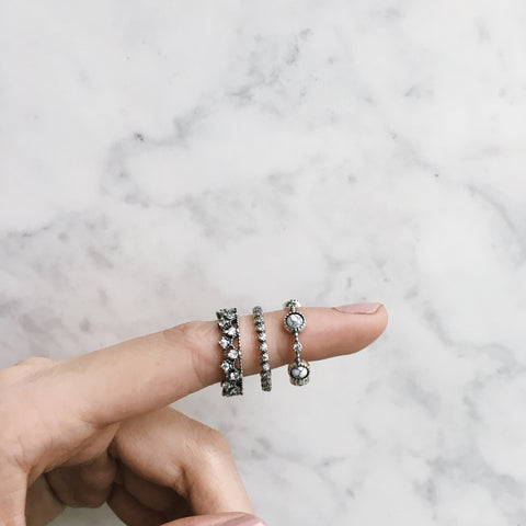 Intricate Details on Rings - Set of 3 - The Hexad Jewelry