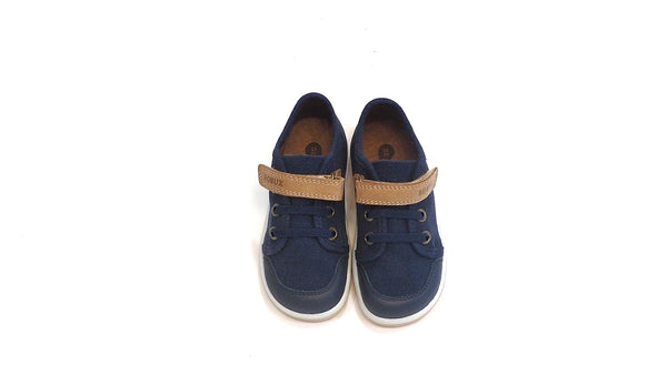 Canvas Casual Trainer | Navy-Caramel