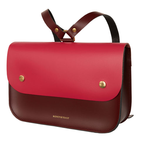 Ellison Satchel | Wine Red & Bright Pink