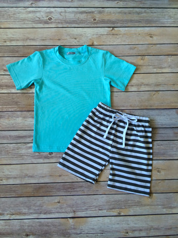 Aqua & Gray Palmetto Set