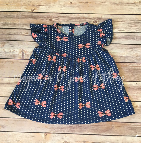 Navy & Coral Bow Pearl