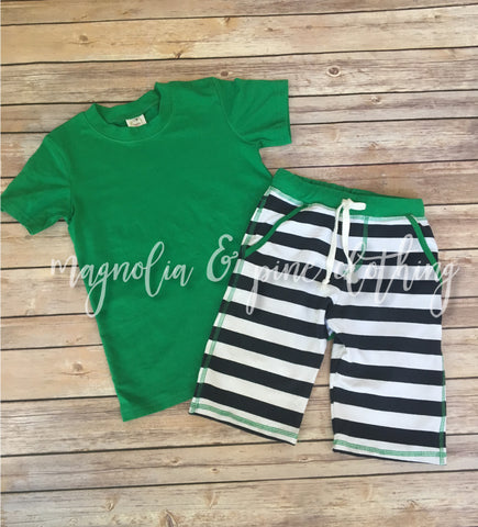 Boys Navy & Green Long Short Set