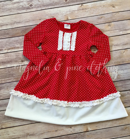 Red & White Color Block Holiday Lap Dress
