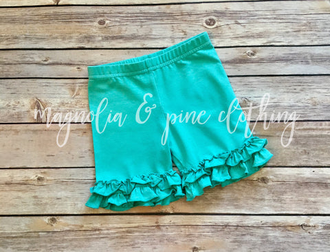 Aqua Ruffle Shorties
