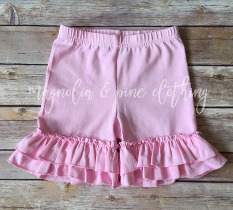 Light Pink Ruffle Shorts