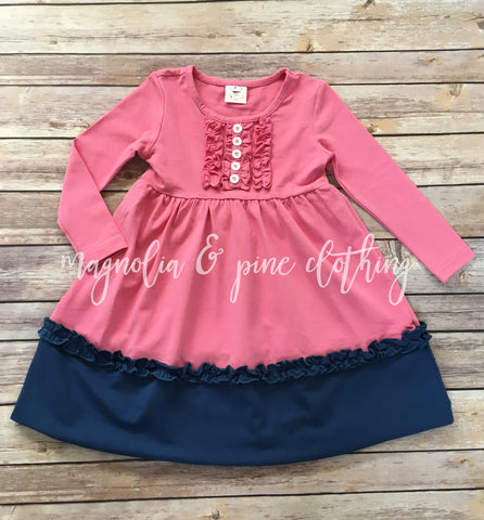 Rose & Blueberry Ruffled Lap Dress