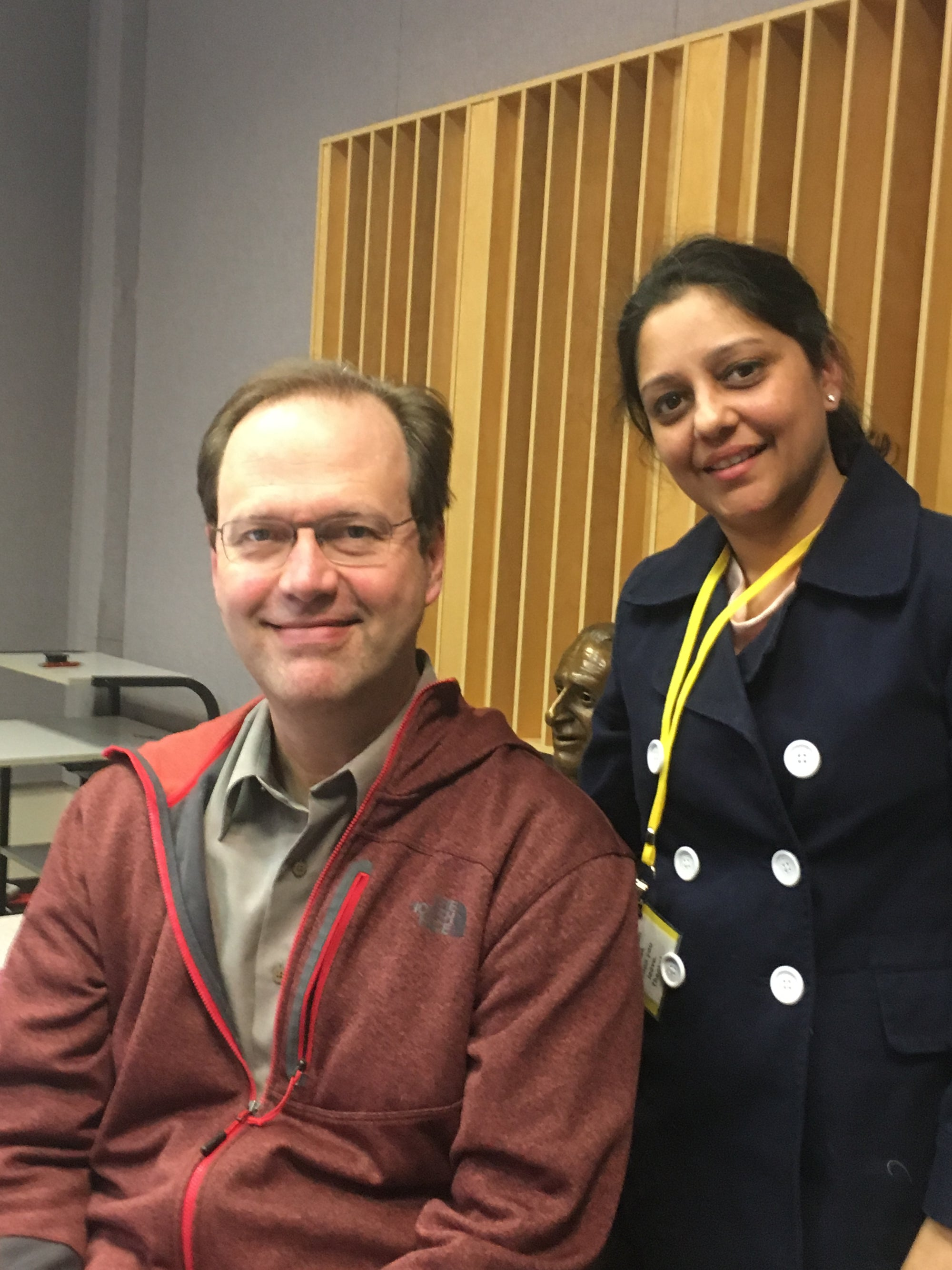 Manvee Vaid founder of Terra Klay with host of WBEZ Worldview Jerome McDonnell