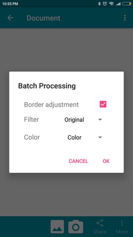 Screenshot of the Notebloc Batch Processing feature