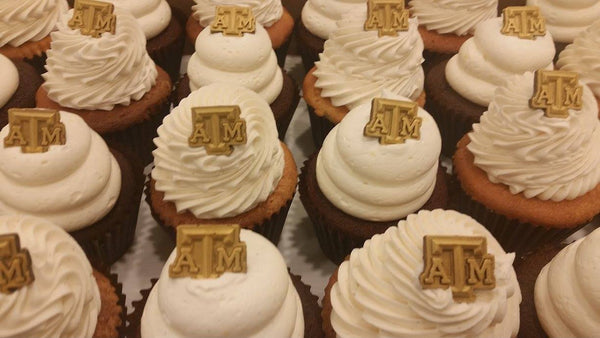 Chocolate Texas A&M Block ATM Cupcake Toppers (One Dozen)