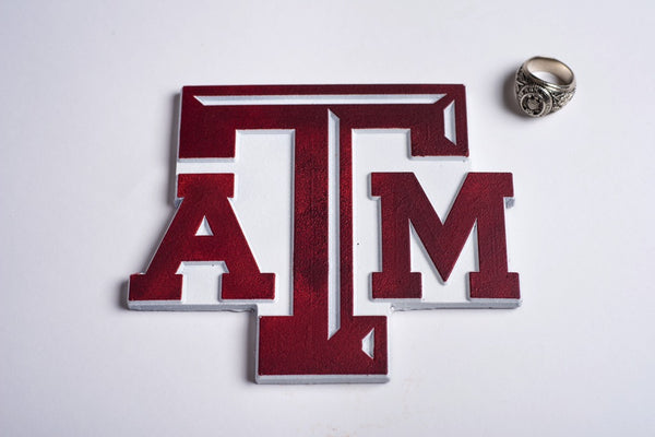 Chocolate Texas A&M Block ATM Logo in Maroon & White - Large