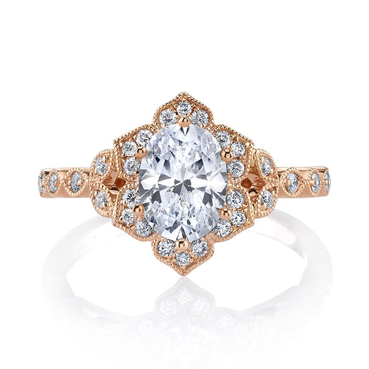 MARS 14k Rose Gold Floral Motif Engagement Ring