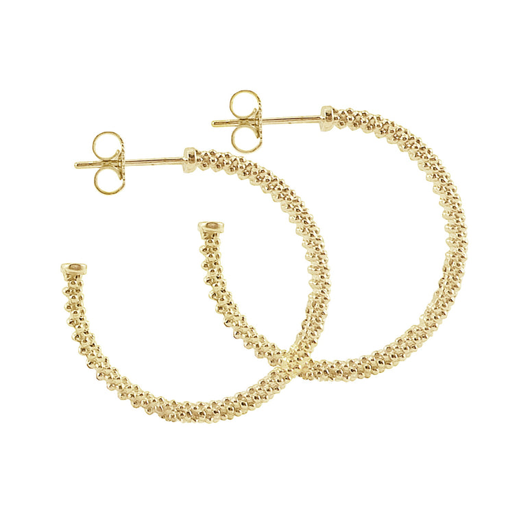 Lagos Caviar Gold 25mm Hoop Earrings