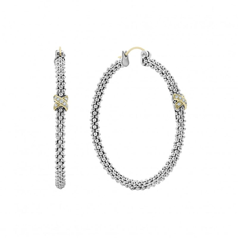 LAGOS Caviar Lux Diamond Hoop Earrings