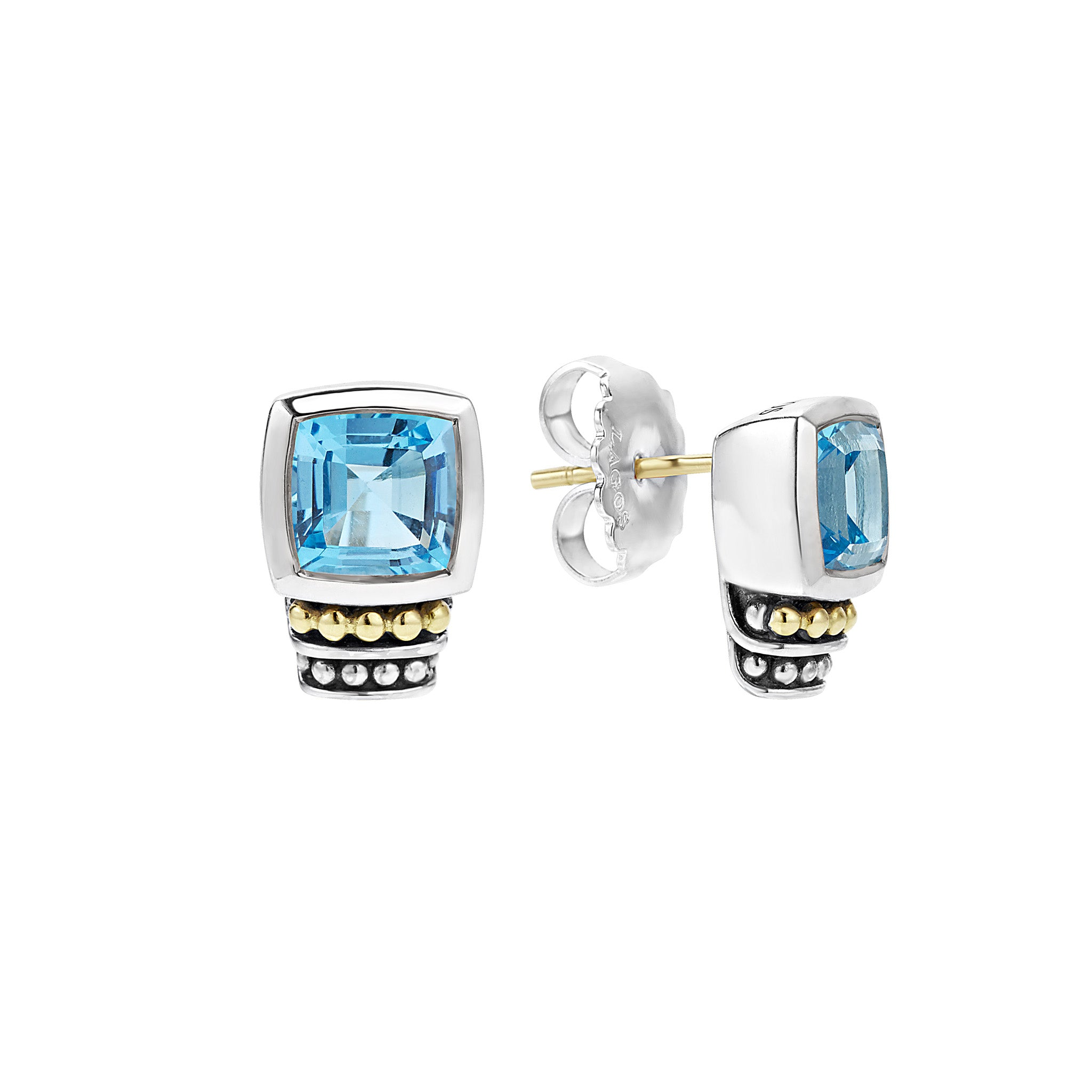 Lagos 'Caviar Color' Blue Topaz Stud Earrings