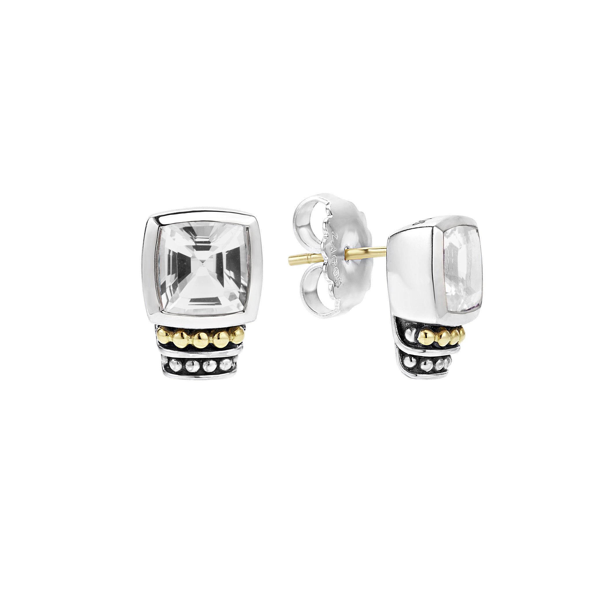Lagos 'Caviar Color' White Topaz Stud Earrings